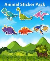Set of dinosaur sticker