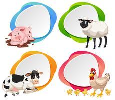 Landbouwhuisdieren op banner vector