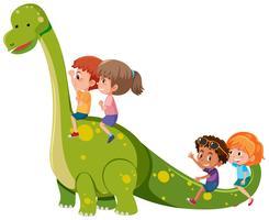 Barn rider på dinosaurie