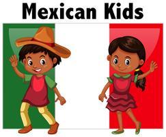Mexicano, crianças, com, bandeira, fundo