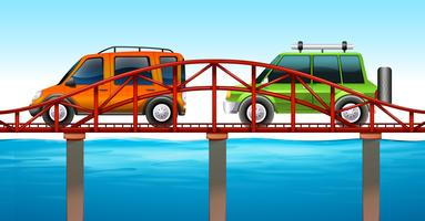 Two cars on the bridge
