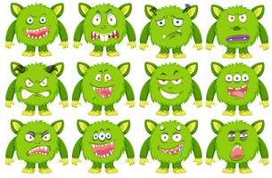 Set of green monster character