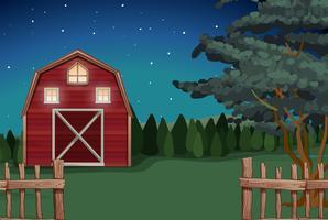 Casa de campo en la granja por la noche