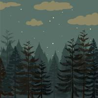 Pine forest at night time vector