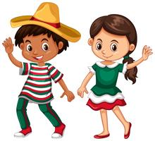Mexican boy and girl waving