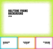 Set of green, blue, orange, pink halftone dots texture frame on white background with copy space. colorful spotted framework for banner web, brochure, poster, leaflet, flyer, presentation, etc.