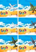 Conjunto de avião voando acima da praia
