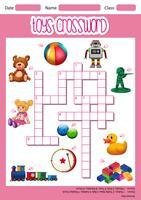 Plantilla de juego de crucigramas de juguetes