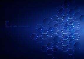 Abstractos hexágonos azules con nodos digitales geométricos y líneas y puntos de fondo azul oscuro con luz horizontal. Concepto de conexión tecnológica.
