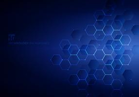 Abstract blue hexagons with nodes digital geometric and lines and dots dark blue background with horizontal light. Technology connection concept.