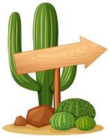 Arrow sign in cactus garden