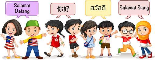 Crianças de diferentes coutries dizendo olá