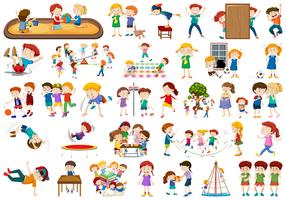 Set of children at playground vector
