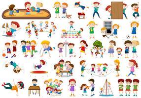 Conjunto de niños en el patio