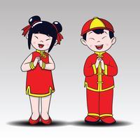 Chinois heureux, garçon heureux et fille debout, Style Cartoon.