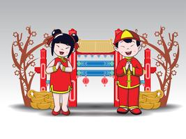 happy Chinese boy and girl standing at Chinese Pavilion Arch, Cartoon Style.