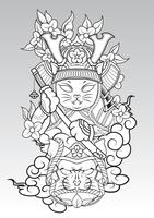 Cat Samurai on colud and Sakura blossom., Japanese Tattoo style.