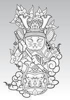 Cat Samurai en colud y flor de Sakura., Estilo de tatuaje japonés.