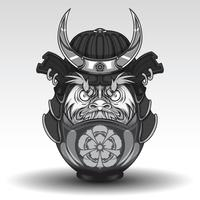 Daruma dall have on Samurai Warrior Armor., Tattoo concept.