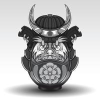 Daruma dall tiene en Samurai Warrior Armor., Concepto de tatuaje.