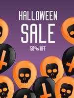 Halloween booklet banner. Purple background with balloons, with crosses and skulls. Sale 50 percent. Vector flat illustration