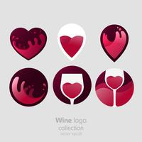 Set of Logo round with a glass of wine. Capsule with liquid in motion. Vector gradient flat illustration