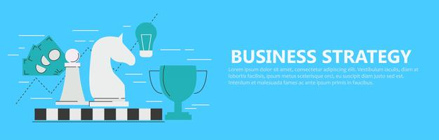 Business strategy banner with chessboard and figures, cup, money, schedule, lightbulb. flat illustration