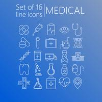 Set of 20 line icons of medical theme