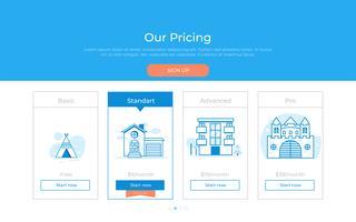 Nosso plano de preços. Categorias diferentes de preços de dinheiro. Prêmio de escolha. Vector design plano gradiente