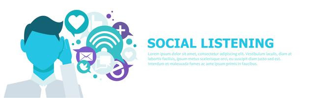 Banner Social listening. The man leaned his hand to his ear, and listens to icons. Vector flat illustration