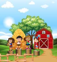 Cena com crianças na fazenda