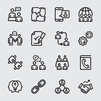 Icono de línea de cooperación empresarial