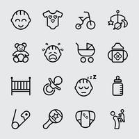 Icono de línea de bebé