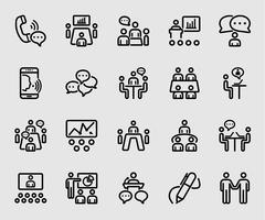 Icono de línea de conferencia y reunión de negocios
