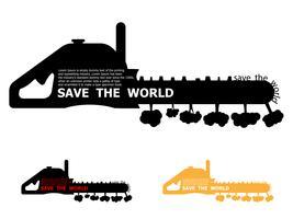 red het wereldconcept, boom vernietigd door kettingzaag