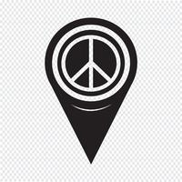 Map Pointer Peace Sign Icon