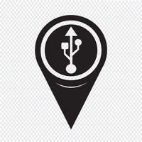 Map Pointer Usb Icon
