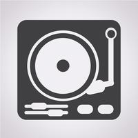 sinal de símbolo de ícone de toca-discos