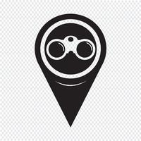 Icône binoculaire de pointeur de carte