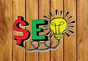 Seo Idea SEO Search Engine Optimization en el fondo de madera tablones textura ilustración