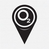 Mapa de puntero de oxígeno O2 icono