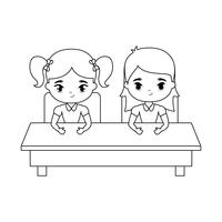 little students seated in school desk