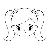 head of cute little girl avatar character
