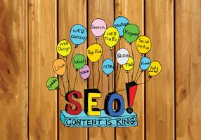 Seo Idea SEO Search Engine Optimization sull'illustrazione di legno di struttura delle plance del fondo