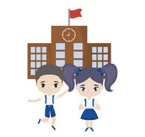 cute little students in front of school vector