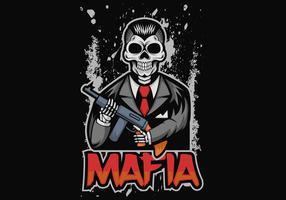 illustrazione vettoriale di cranio mafia
