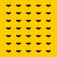 black scary bat pattern on yellow background for Halloween