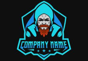beard man gamers gaming e sport logo