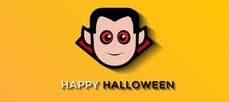 Smiling scary vampire on yellow background for Halloween