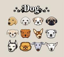Conjunto de ilustración de cabeza de perro